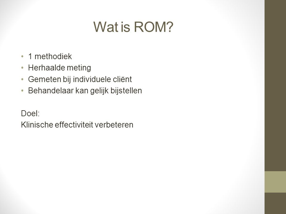 Wat is ROM 1 methodiek Herhaalde meting