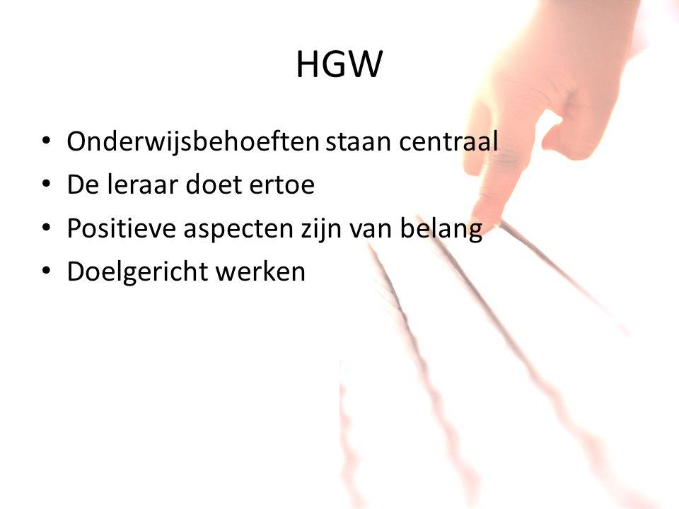 HGW Onderwijsbehoeften staan centraal De leraar doet ertoe