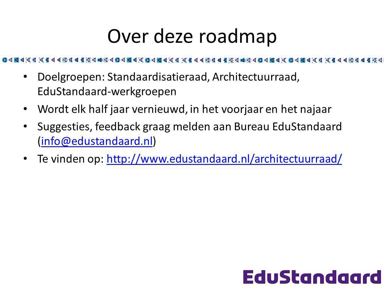 Over deze roadmap Doelgroepen: Standaardisatieraad, Architectuurraad, EduStandaard-werkgroepen.