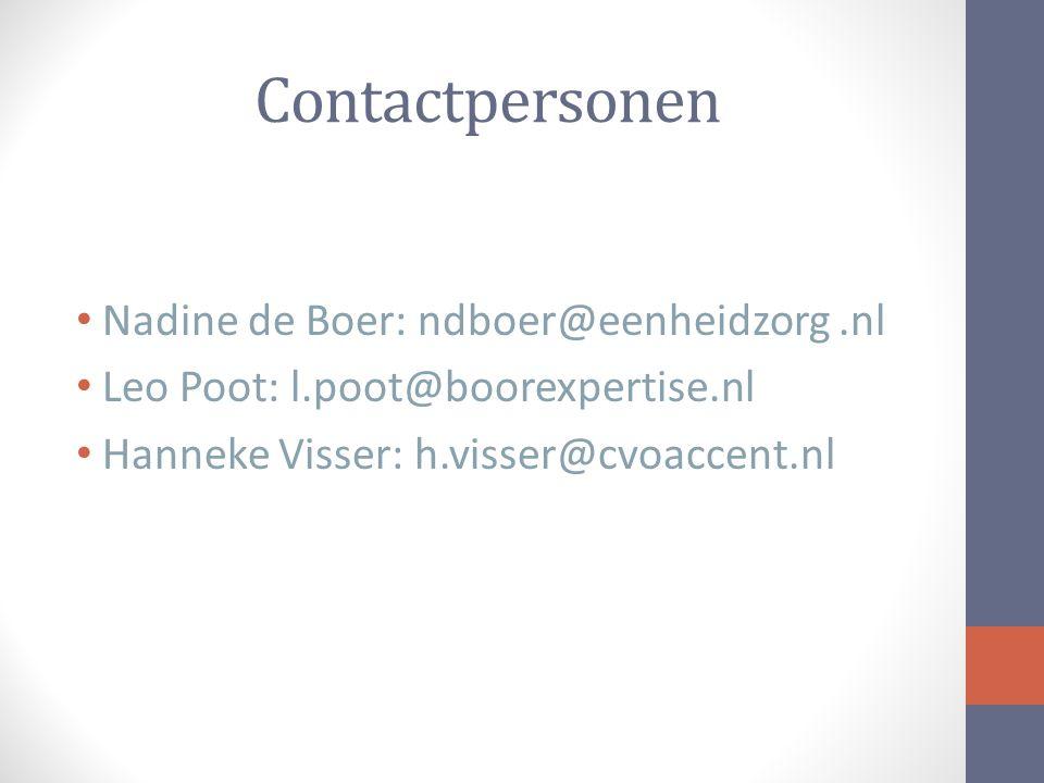 Contactpersonen Nadine de Boer: ndboer@eenheidzorg .nl