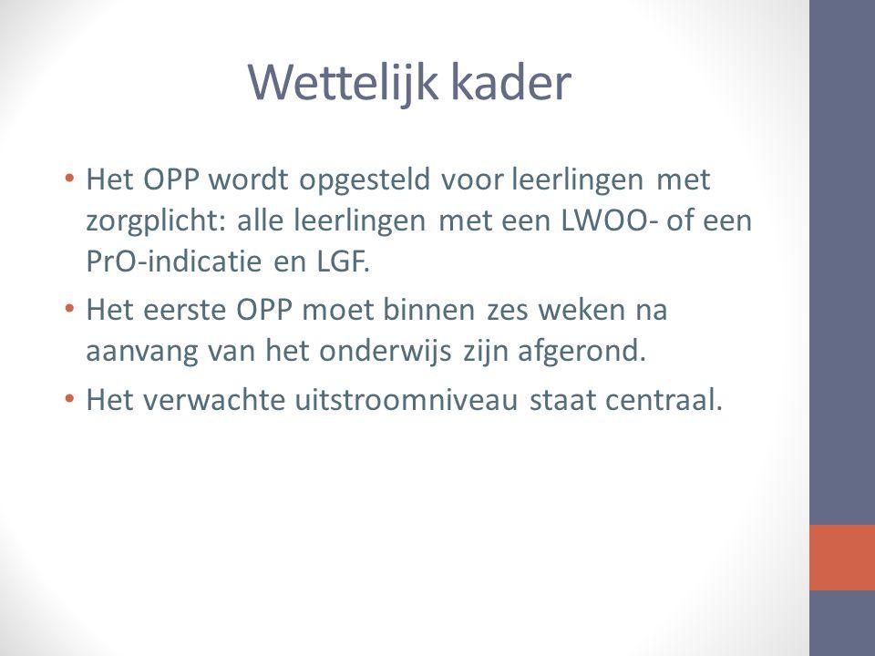 Wettelijk kader Het OPP wordt opgesteld voor leerlingen met zorgplicht: alle leerlingen met een LWOO- of een PrO-indicatie en LGF.