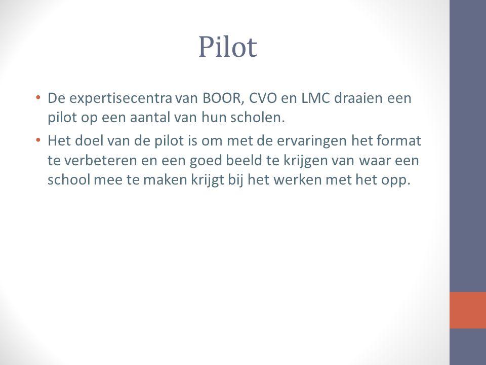 Pilot De expertisecentra van BOOR, CVO en LMC draaien een pilot op een aantal van hun scholen.
