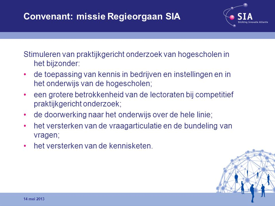 Convenant: missie Regieorgaan SIA