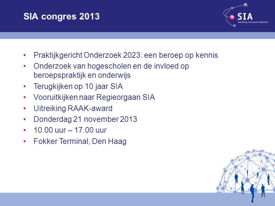 SIA congres 2013 Praktijkgericht Onderzoek 2023: een beroep op kennis