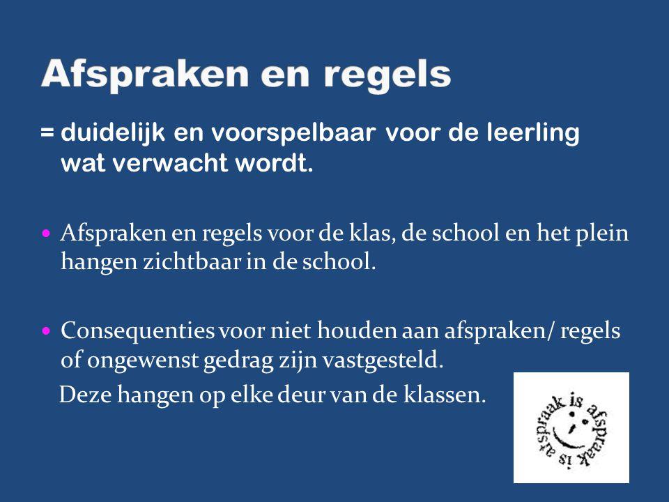 Afspraken en regels = duidelijk en voorspelbaar voor de leerling wat verwacht wordt.