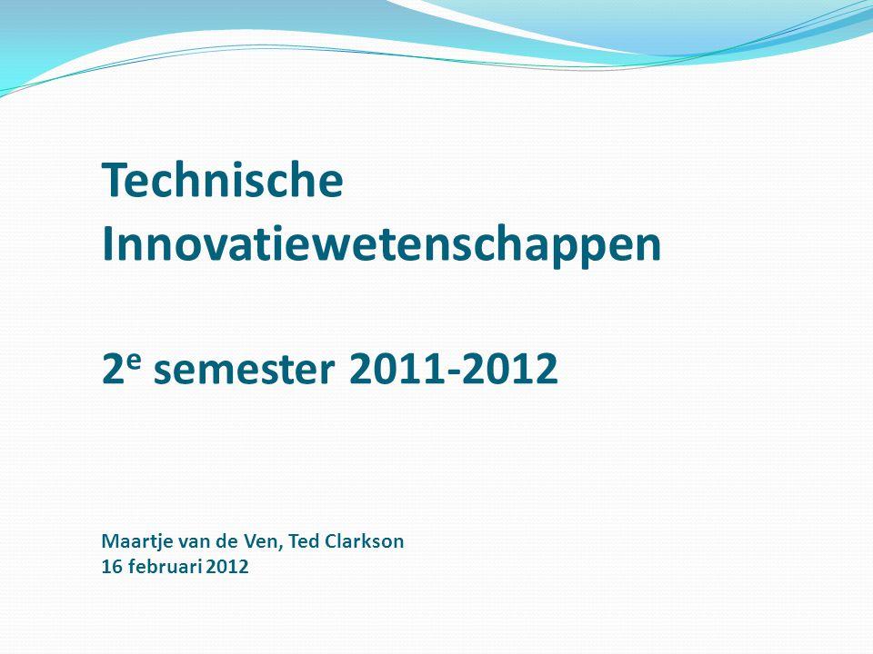Technische Innovatiewetenschappen 2e semester 2011-2012 Maartje van de Ven, Ted Clarkson 16 februari 2012