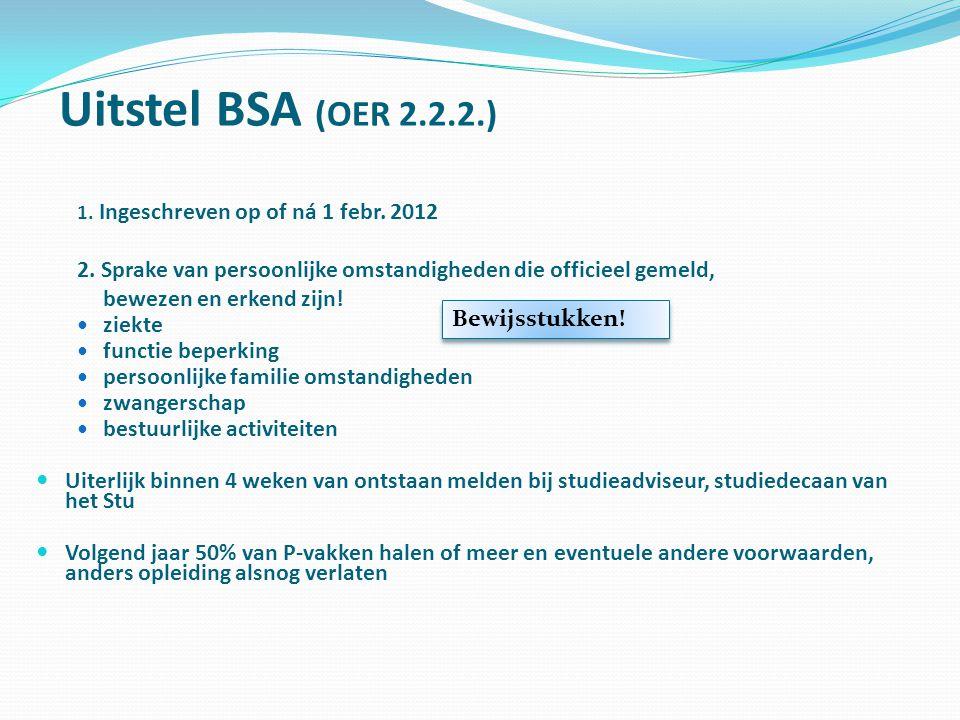 Uitstel BSA (OER 2.2.2.) 1. Ingeschreven op of ná 1 febr. 2012. 2. Sprake van persoonlijke omstandigheden die officieel gemeld,