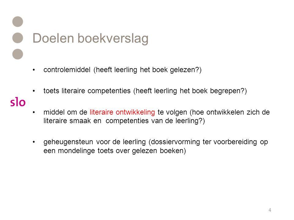 Doelen boekverslag controlemiddel (heeft leerling het boek gelezen )