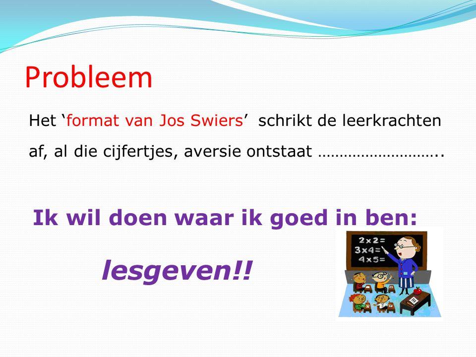 Probleem Het 'format van Jos Swiers' schrikt de leerkrachten af, al die cijfertjes, aversie ontstaat ………………………..