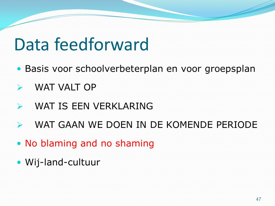 Data feedforward Basis voor schoolverbeterplan en voor groepsplan