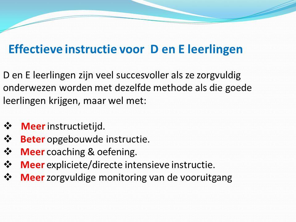 Effectieve instructie voor D en E leerlingen
