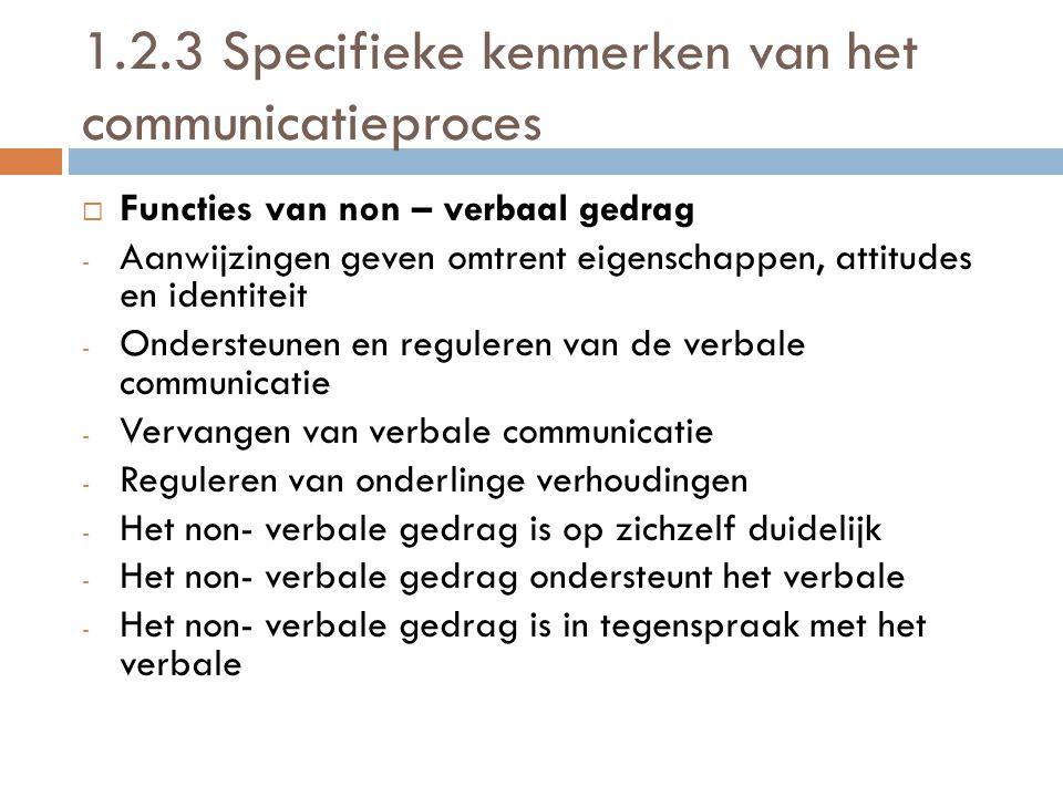 1.2.3 Specifieke kenmerken van het communicatieproces
