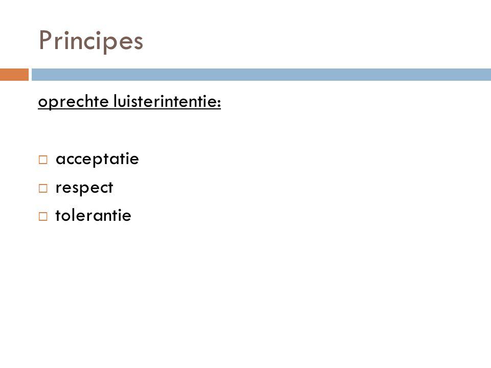 Principes oprechte luisterintentie: acceptatie respect tolerantie