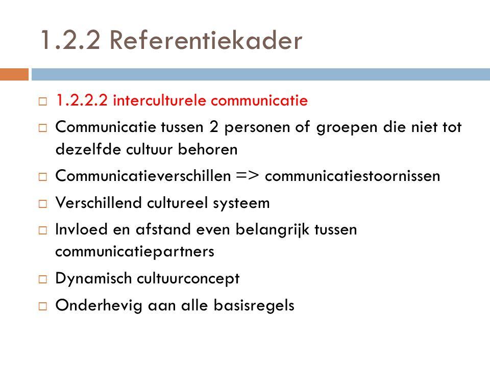 1.2.2 Referentiekader 1.2.2.2 interculturele communicatie