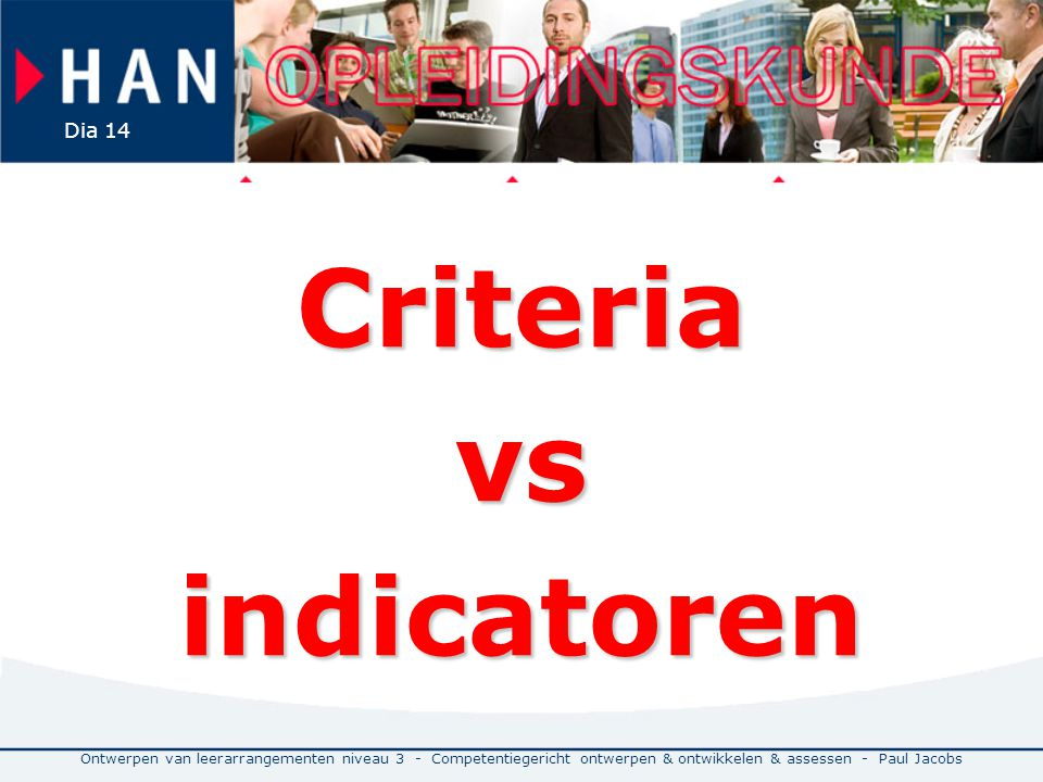 Criteria vs indicatoren