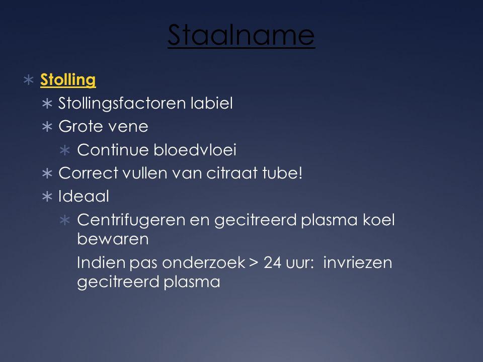 Staalname Stolling Stollingsfactoren labiel Grote vene