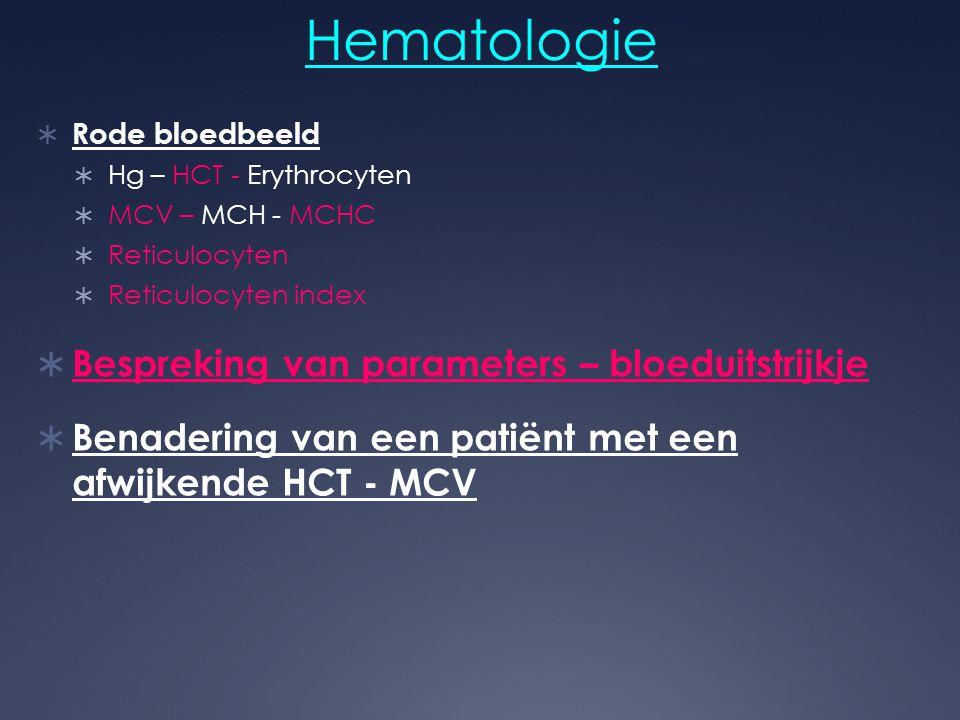 Hematologie Bespreking van parameters – bloeduitstrijkje