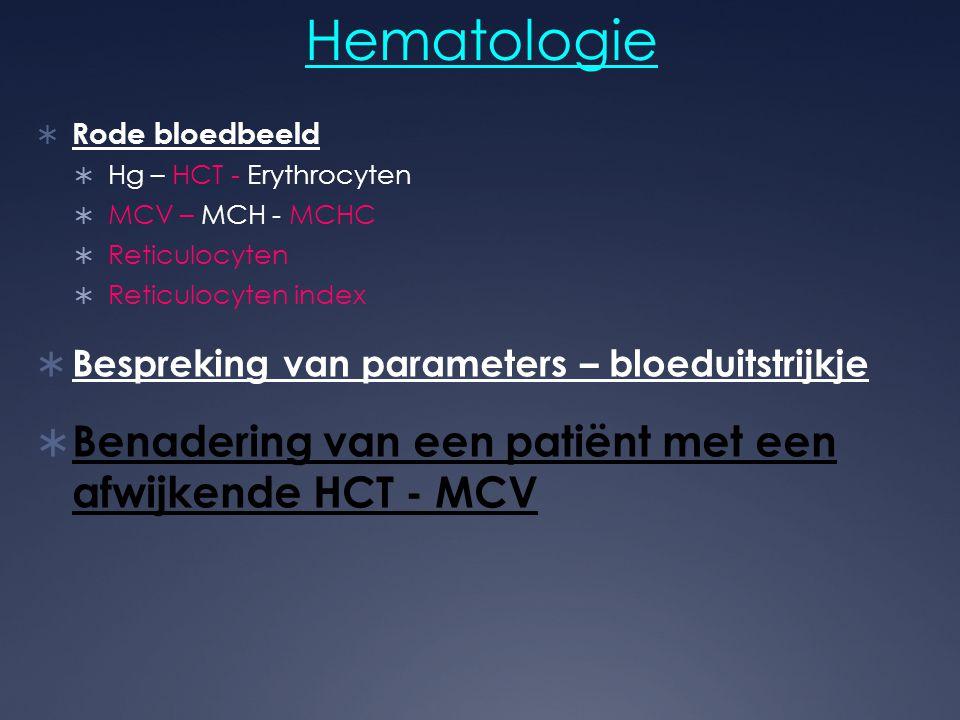 Hematologie Benadering van een patiënt met een afwijkende HCT - MCV