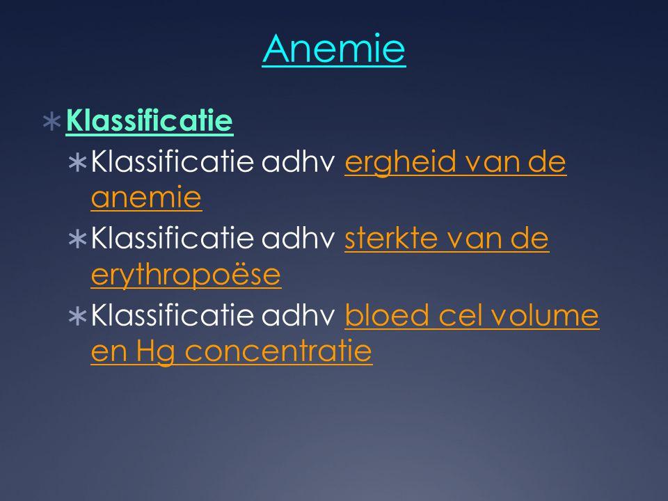 Anemie Klassificatie Klassificatie adhv ergheid van de anemie