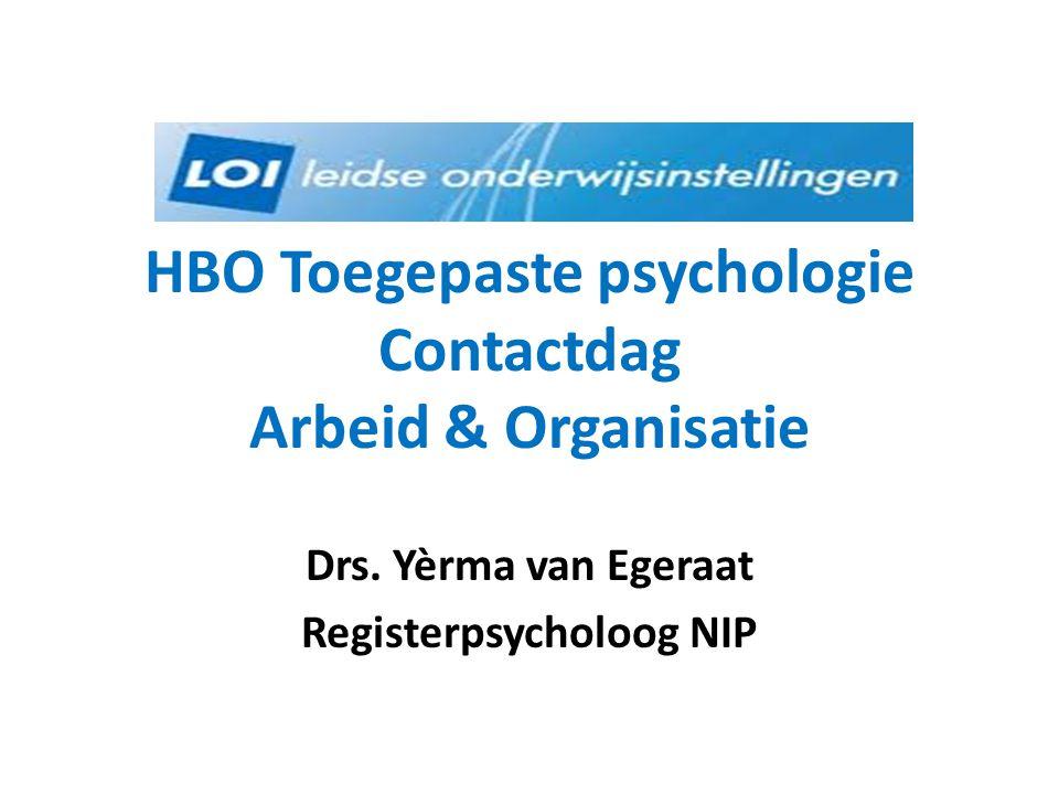 HBO Toegepaste psychologie Contactdag Arbeid & Organisatie