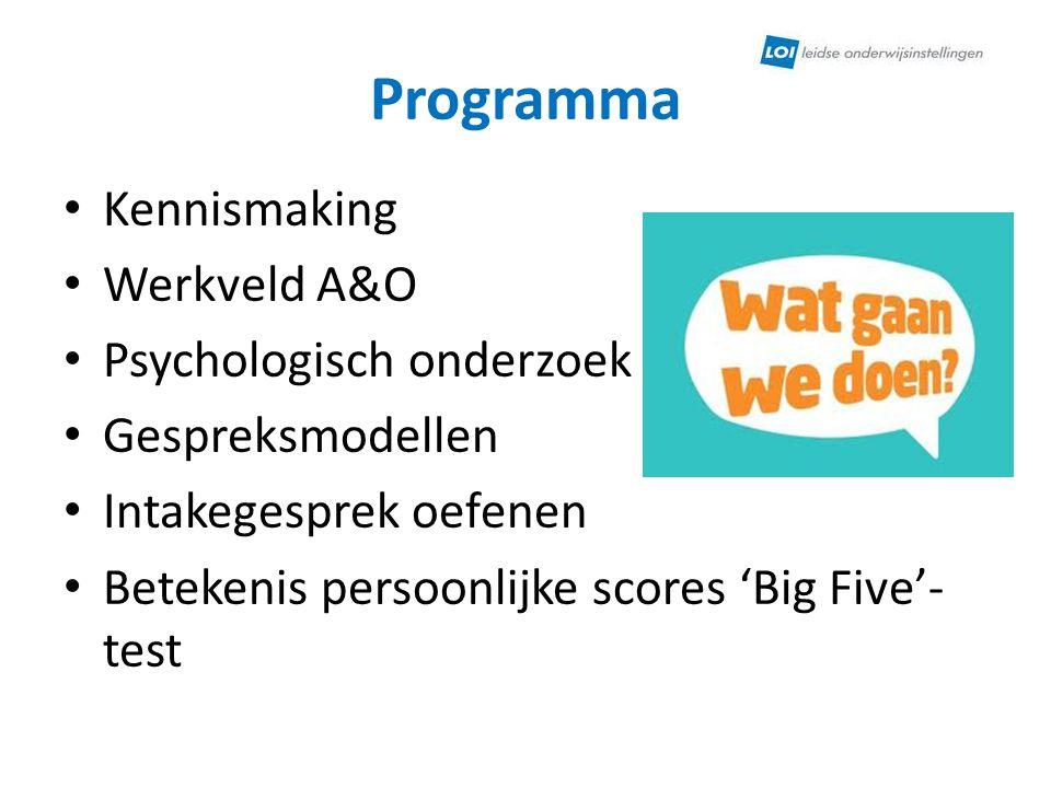 Programma Kennismaking Werkveld A&O Psychologisch onderzoek