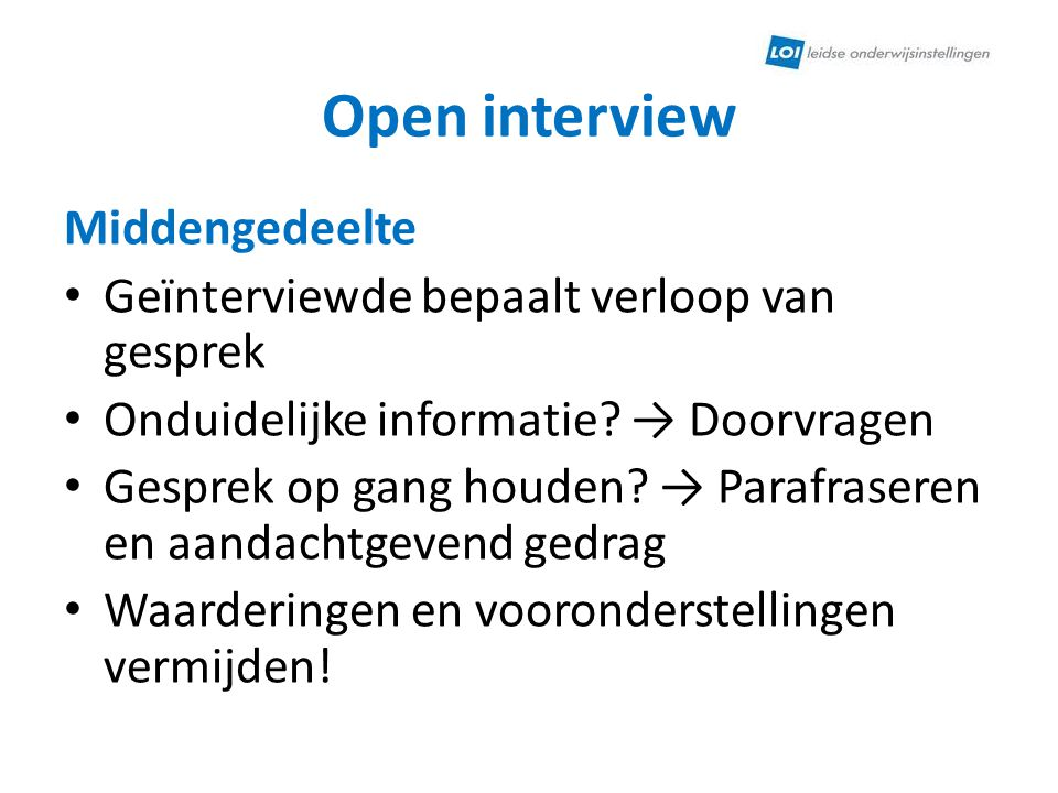 Open interview Middengedeelte