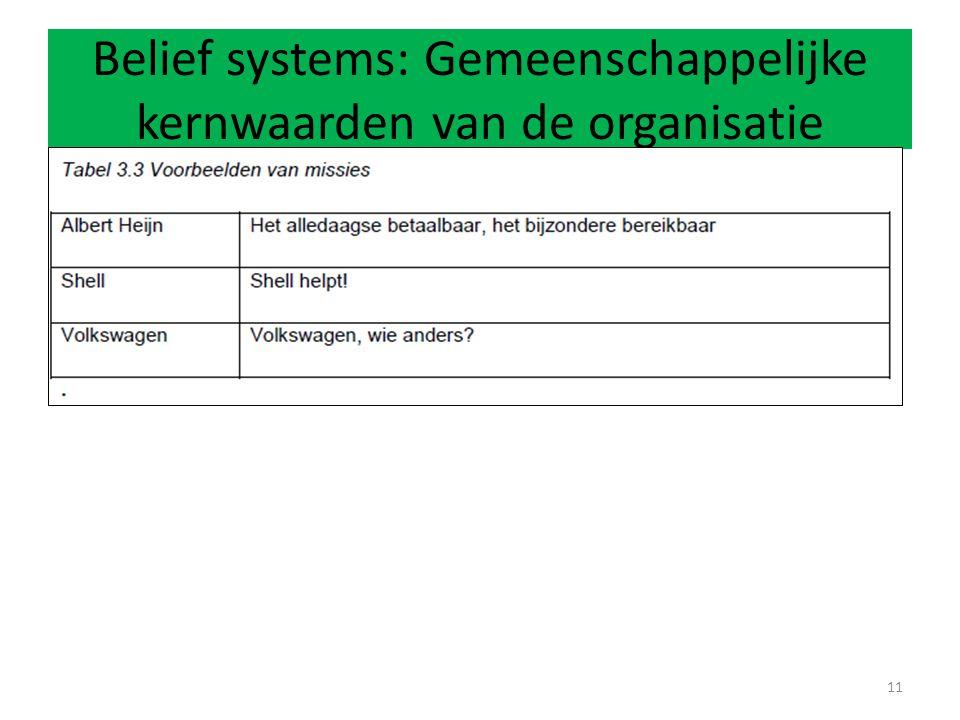 Belief systems: Gemeenschappelijke kernwaarden van de organisatie