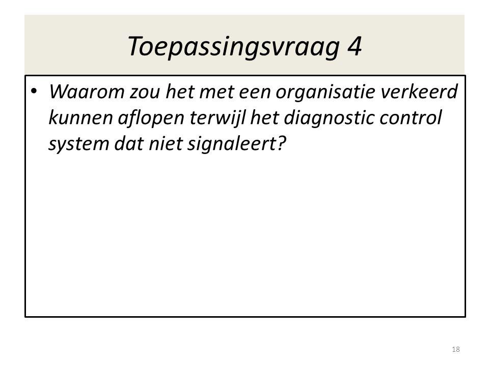 Toepassingsvraag 4 Waarom zou het met een organisatie verkeerd kunnen aflopen terwijl het diagnostic control system dat niet signaleert