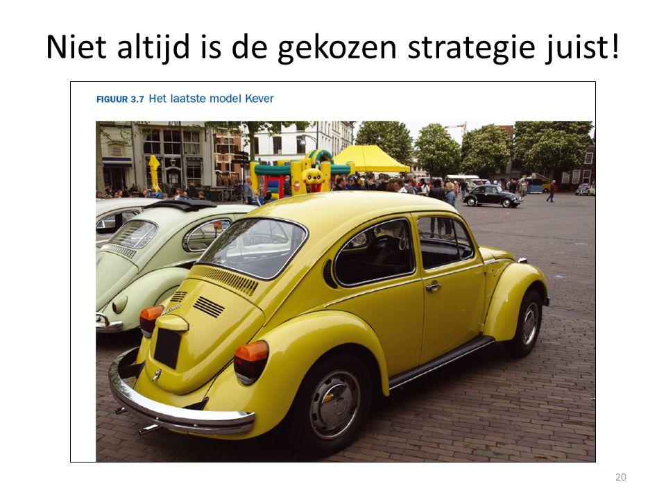 Niet altijd is de gekozen strategie juist!