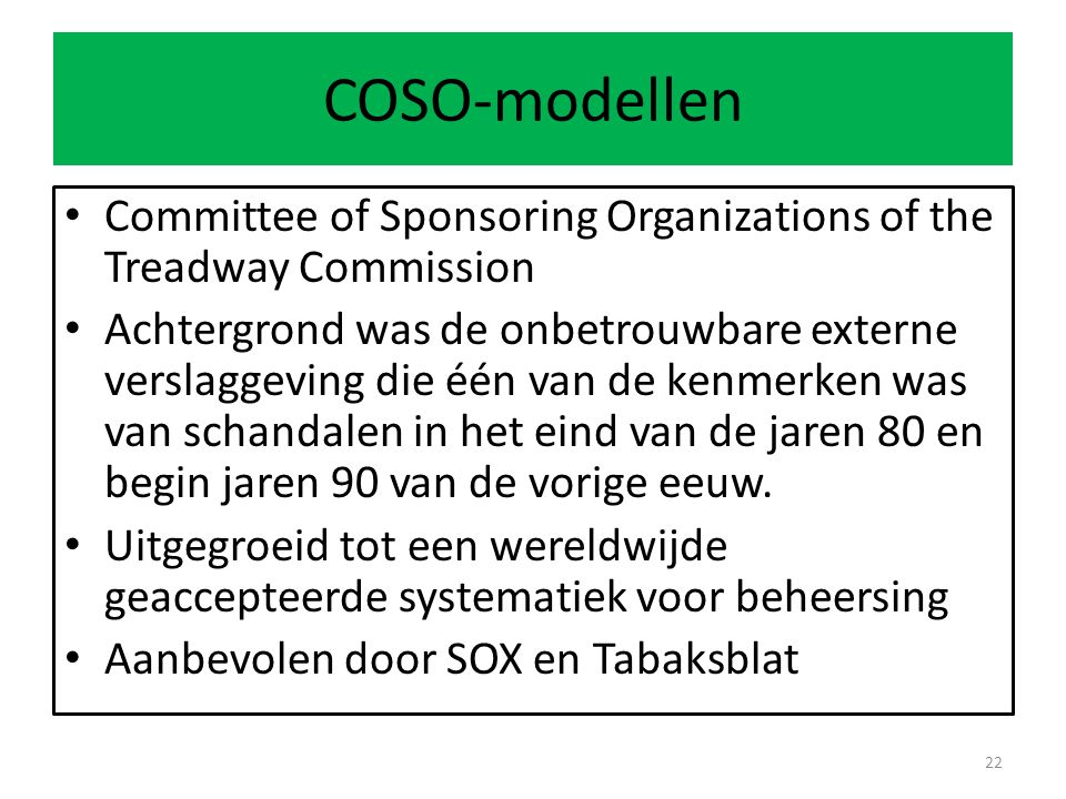 COSO-modellen Committee of Sponsoring Organizations of the Treadway Commission.