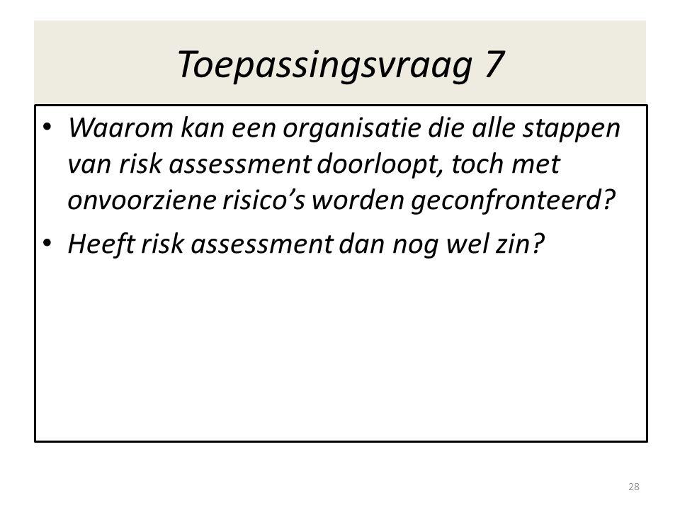 Toepassingsvraag 7 Waarom kan een organisatie die alle stappen van risk assessment doorloopt, toch met onvoorziene risico's worden geconfronteerd