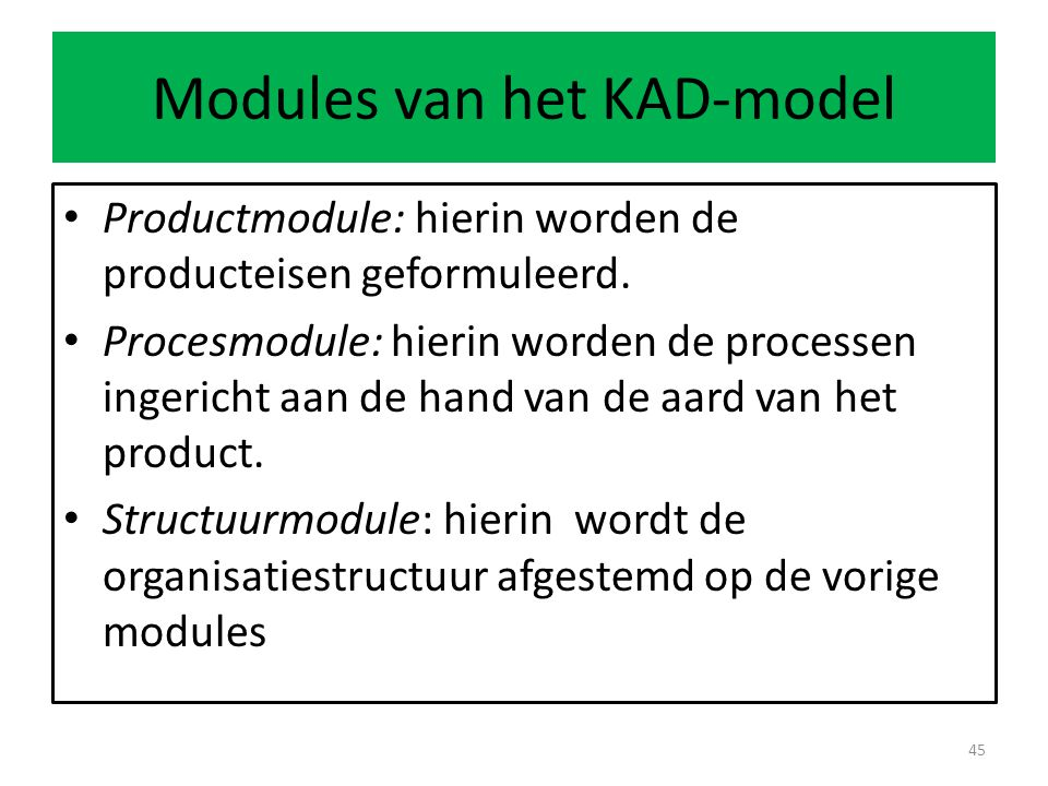 Modules van het KAD-model