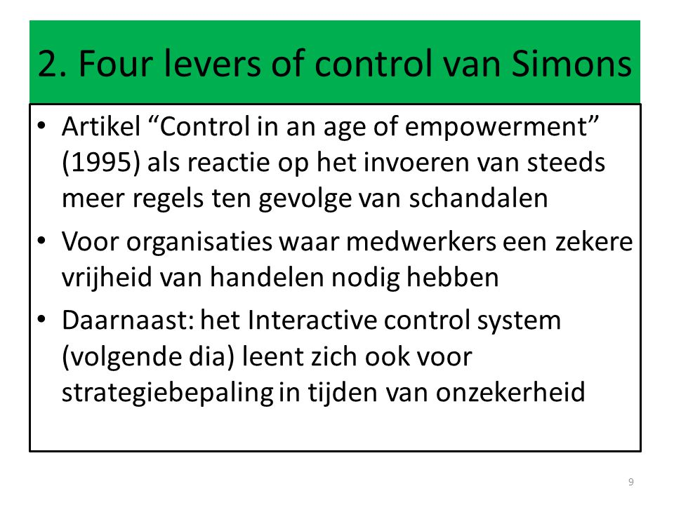 2. Four levers of control van Simons