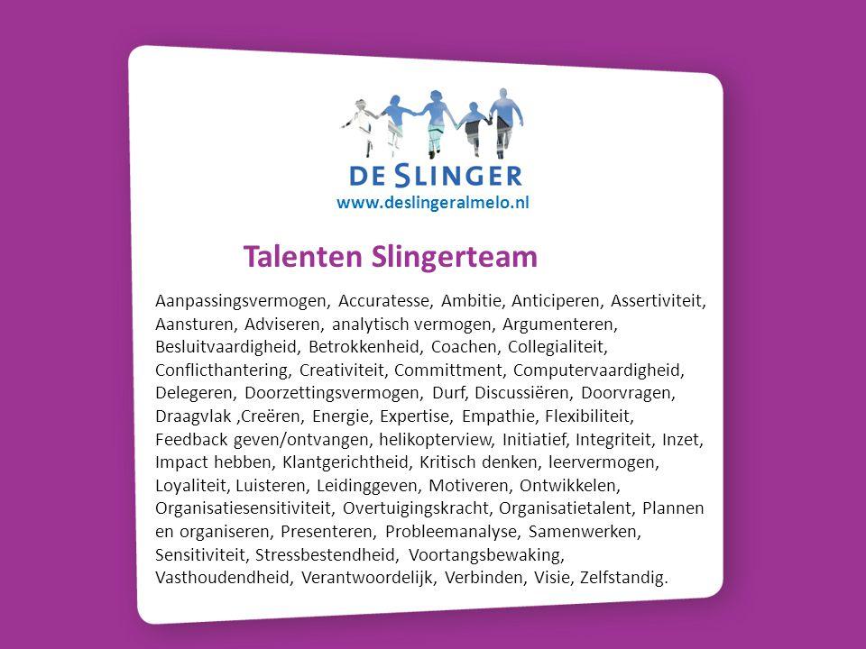 www.deslingeralmelo.nl Talenten Slingerteam.