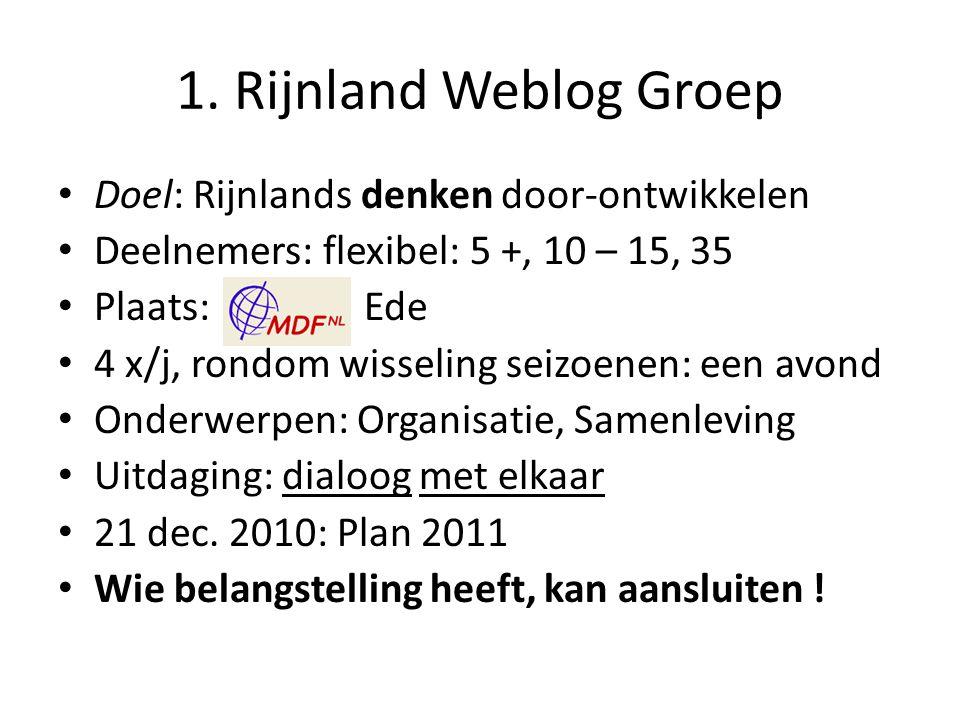 1. Rijnland Weblog Groep Doel: Rijnlands denken door-ontwikkelen