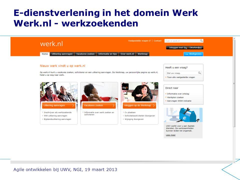 E-dienstverlening in het domein Werk Werk.nl - werkzoekenden