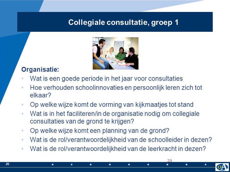 Collegiale consultatie, groep 1