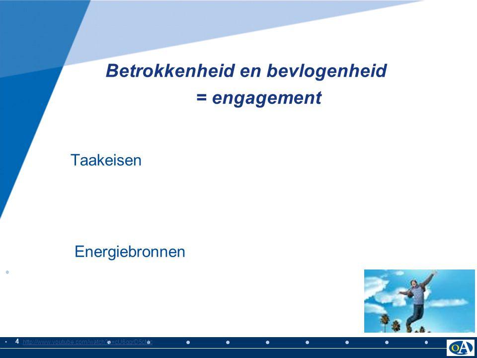 = engagement Betrokkenheid en bevlogenheid Taakeisen Energiebronnen