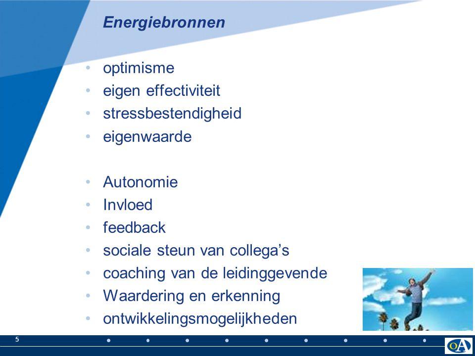 Energiebronnen optimisme. eigen effectiviteit. stressbestendigheid. eigenwaarde. Autonomie. Invloed.