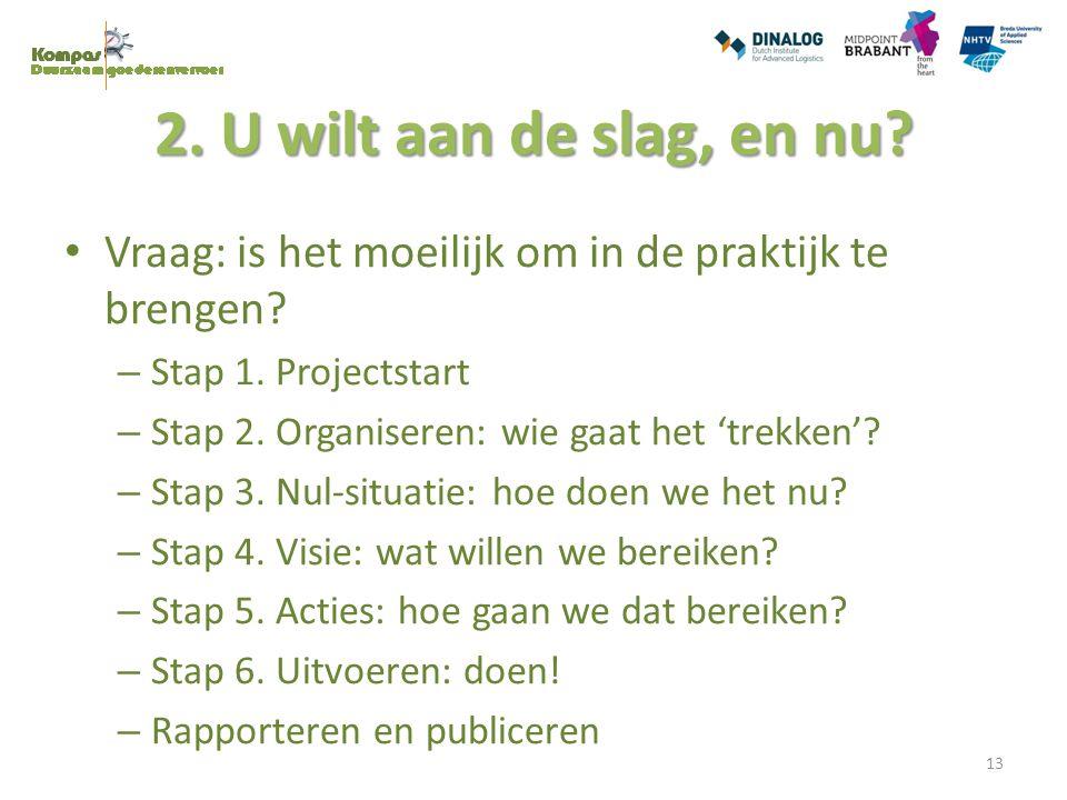 2. U wilt aan de slag, en nu Vraag: is het moeilijk om in de praktijk te brengen Stap 1. Projectstart.
