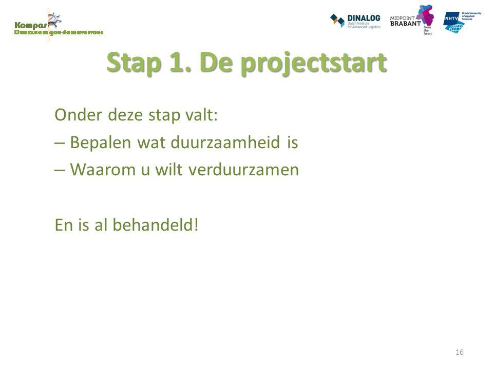 Stap 1. De projectstart Onder deze stap valt: