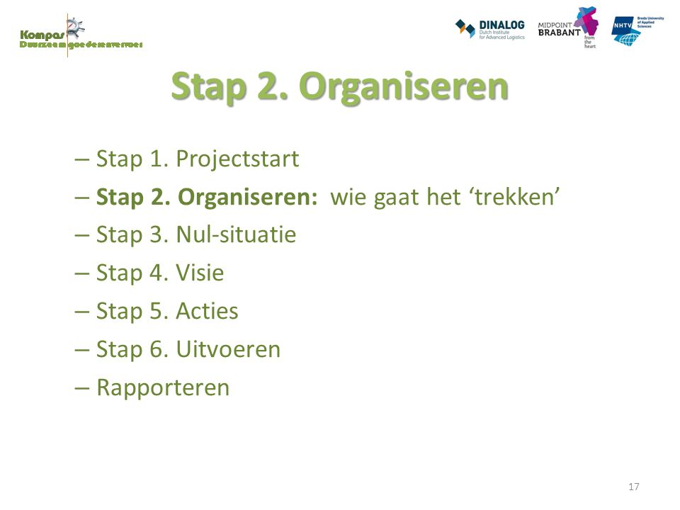 Stap 2. Organiseren Stap 1. Projectstart