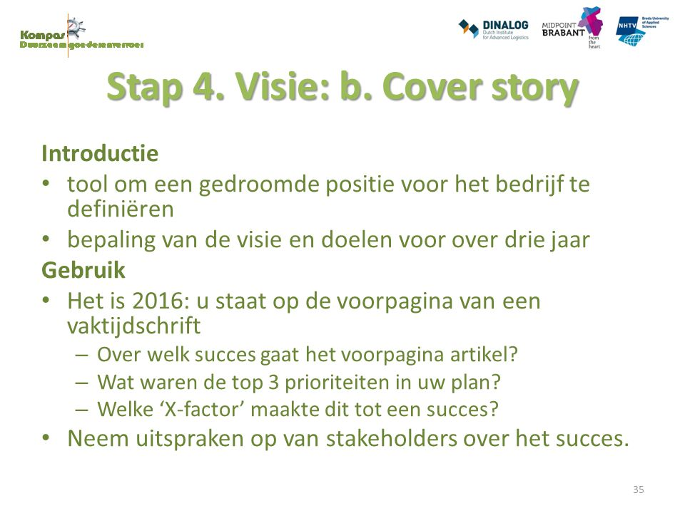 Stap 4. Visie: b. Cover story