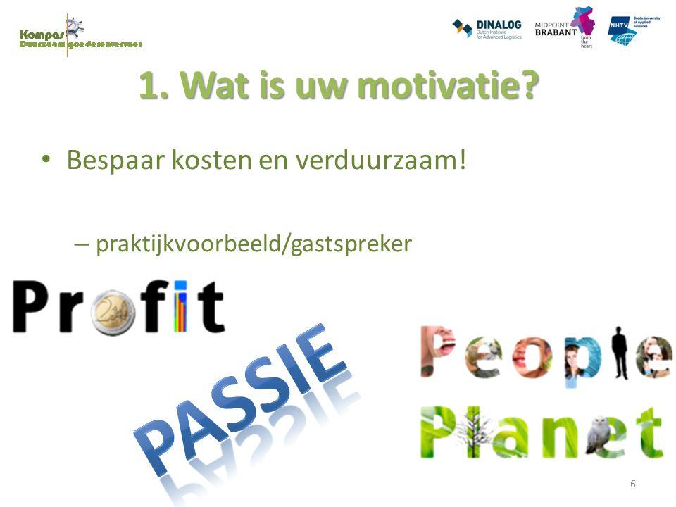 PASSIE 1. Wat is uw motivatie Bespaar kosten en verduurzaam!