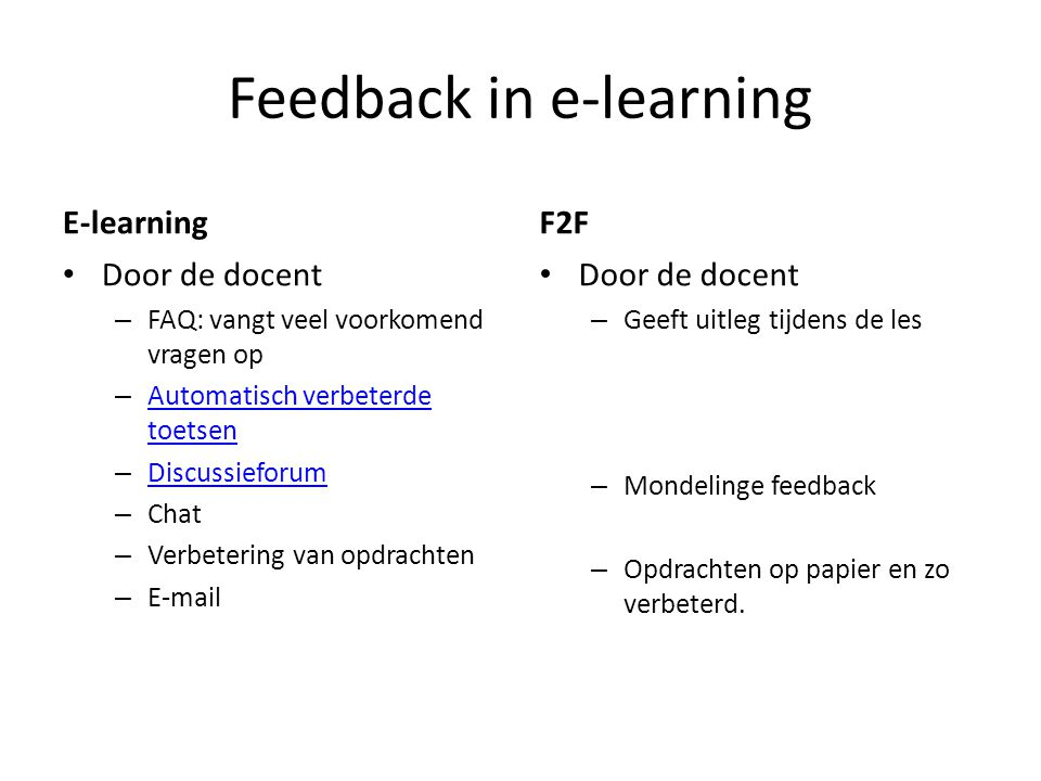 Feedback in e-learning