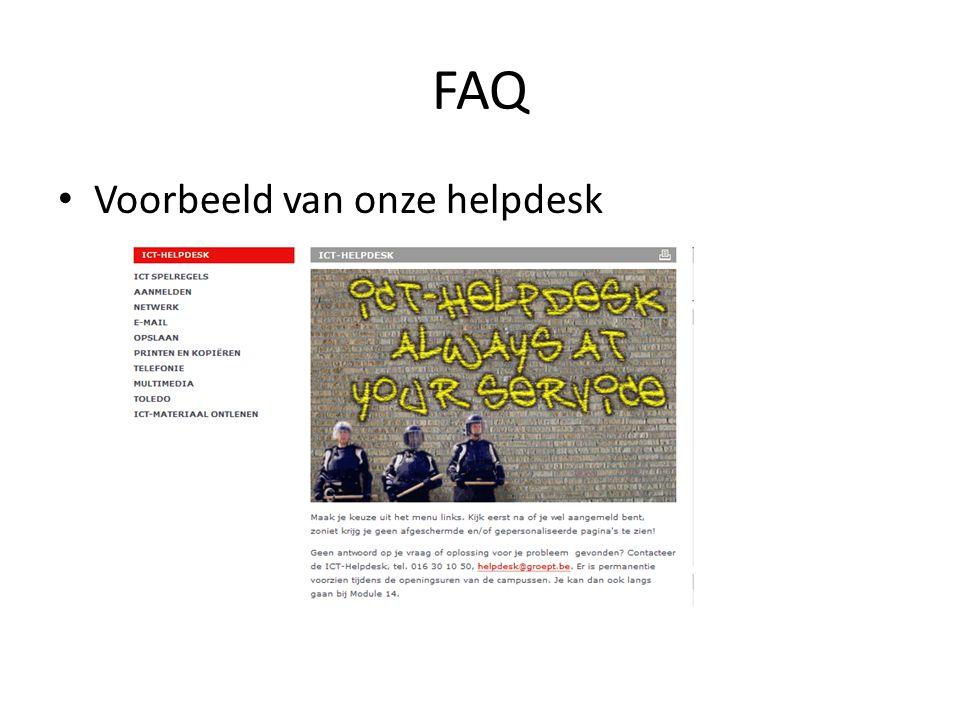 FAQ Voorbeeld van onze helpdesk