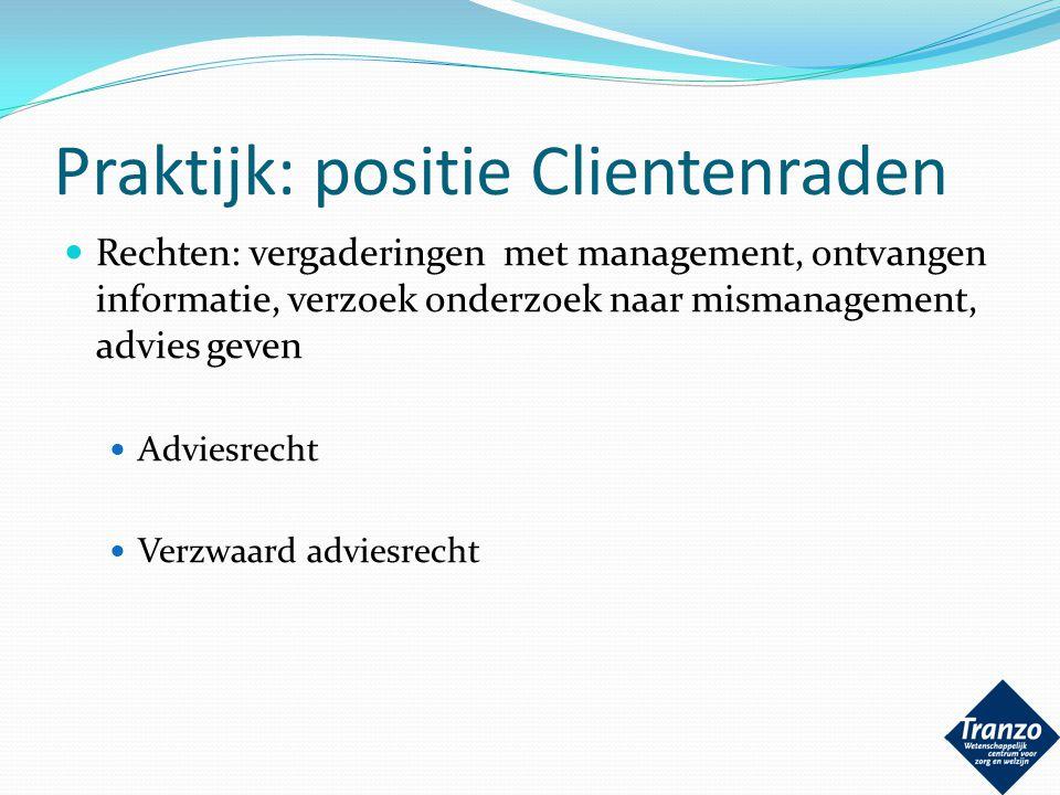 Praktijk: positie Clientenraden
