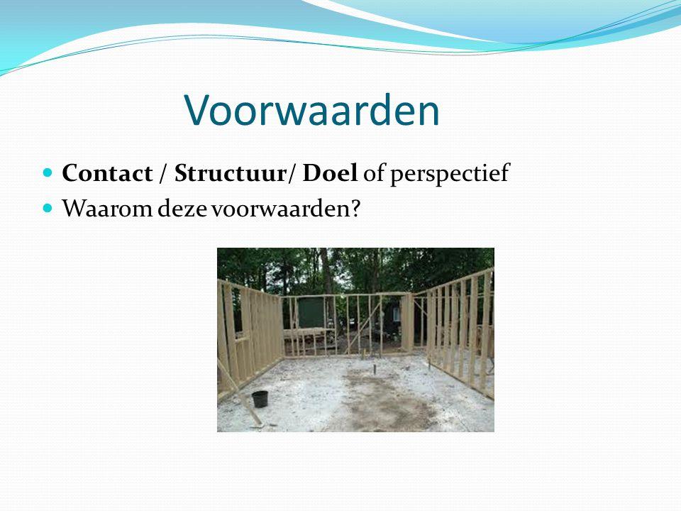 Voorwaarden Contact / Structuur/ Doel of perspectief