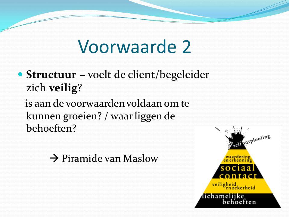 Voorwaarde 2 Structuur – voelt de client/begeleider zich veilig