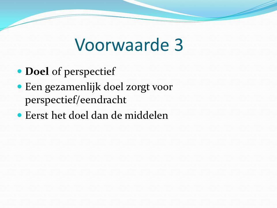 Voorwaarde 3 Doel of perspectief